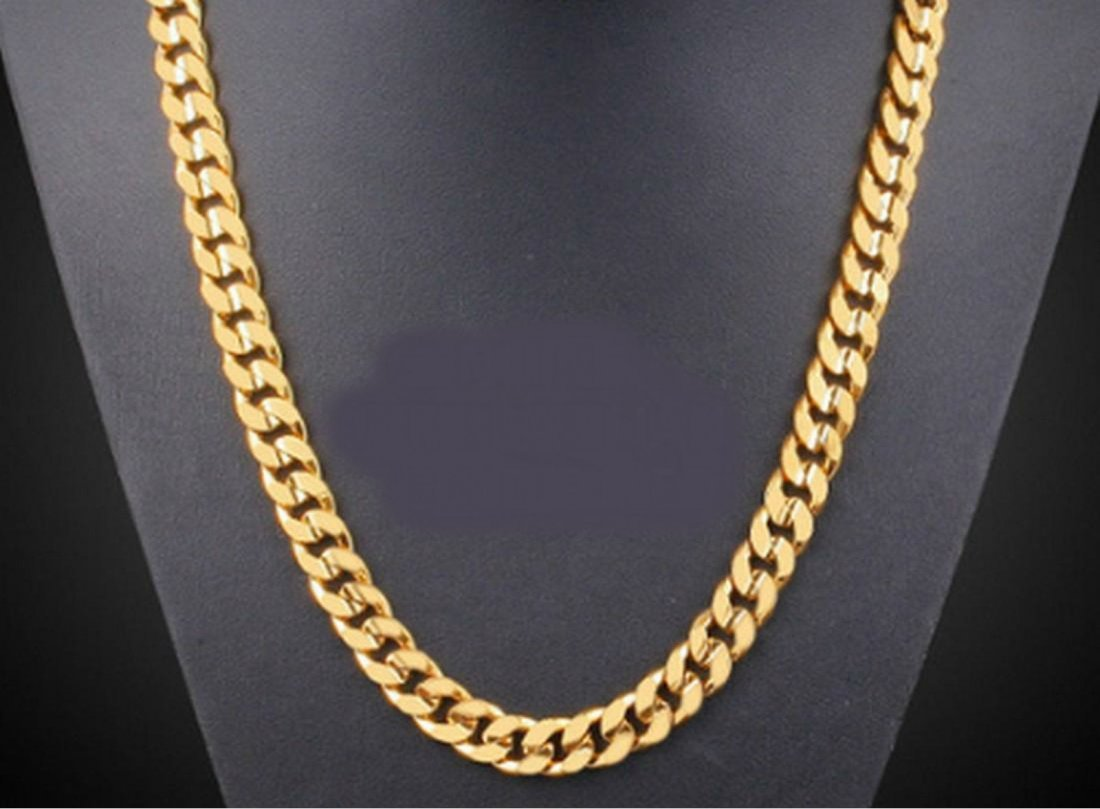14K Brazilian Gold Filled Flat Cuban Chain Necklace
