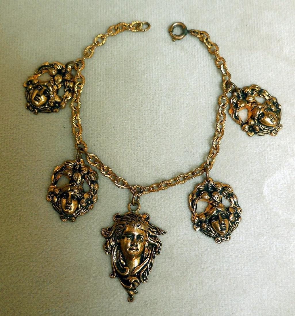 Antique Art Nouveau Gold Plated Charm Bracelet