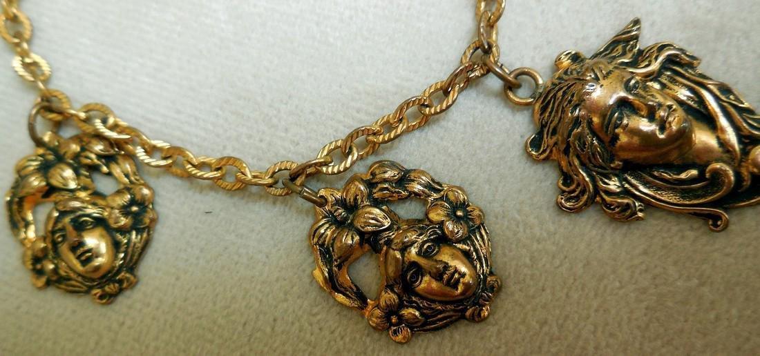 Antique Art Nouveau Gold Plated Charm Bracelet - 2