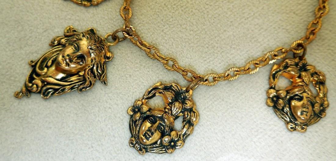 Antique Art Nouveau Gold Plated Charm Bracelet - 3