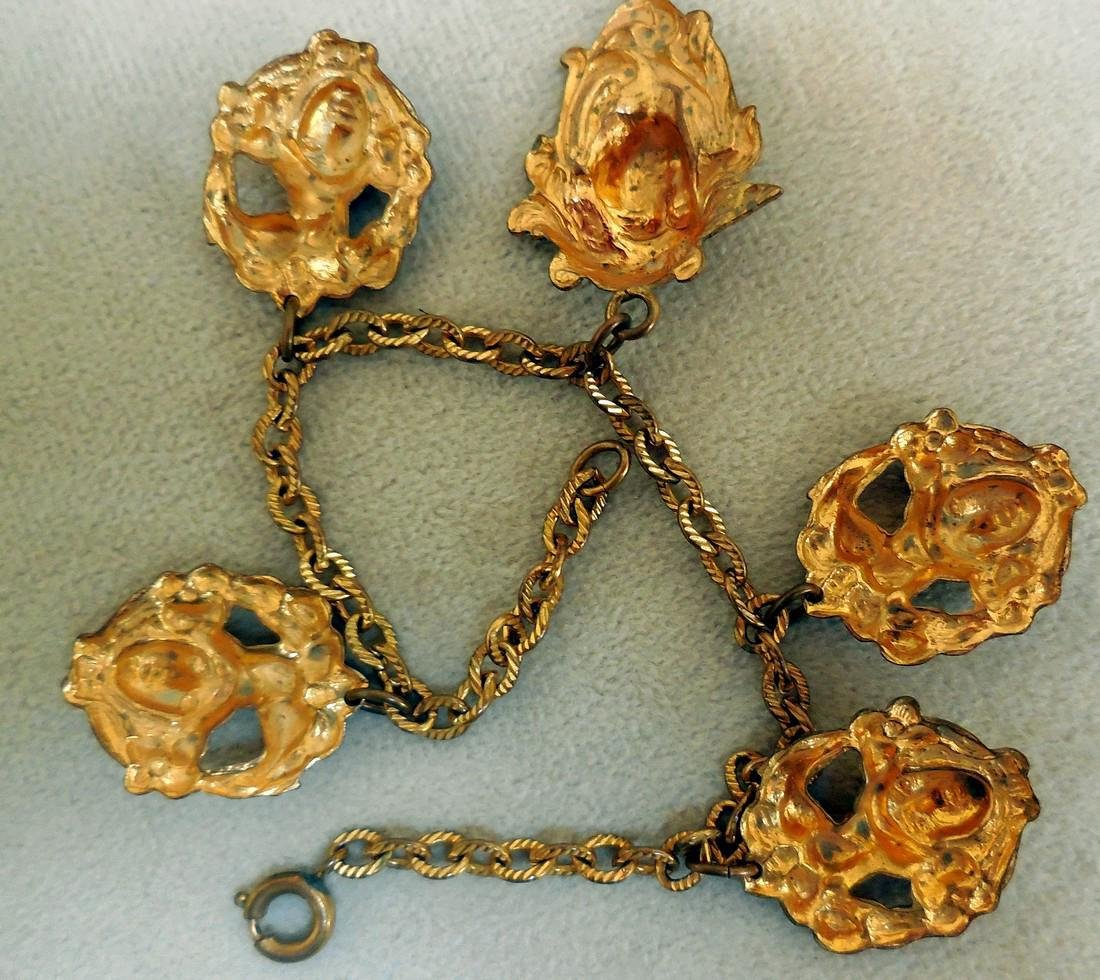 Antique Art Nouveau Gold Plated Charm Bracelet - 4