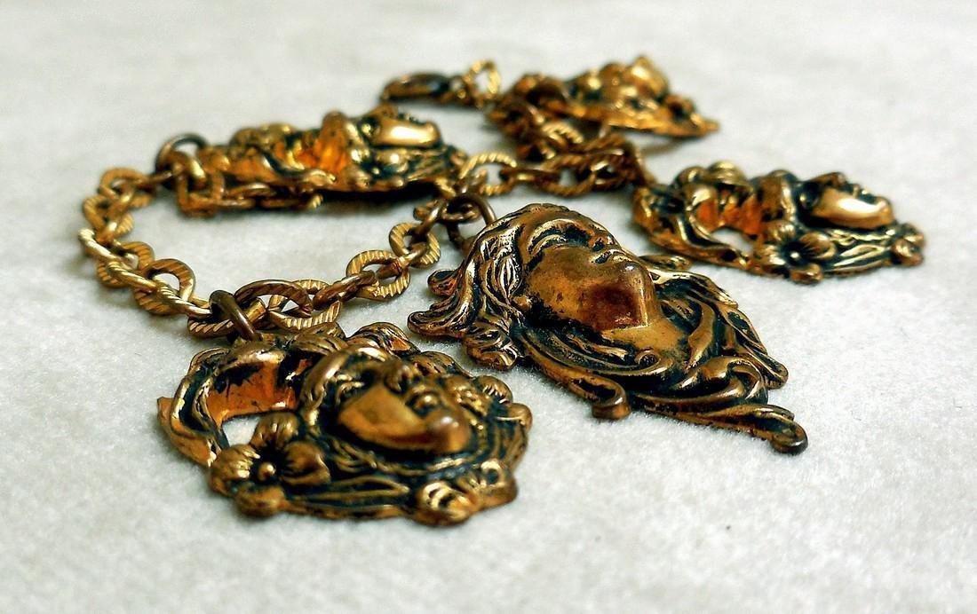 Antique Art Nouveau Gold Plated Charm Bracelet - 5