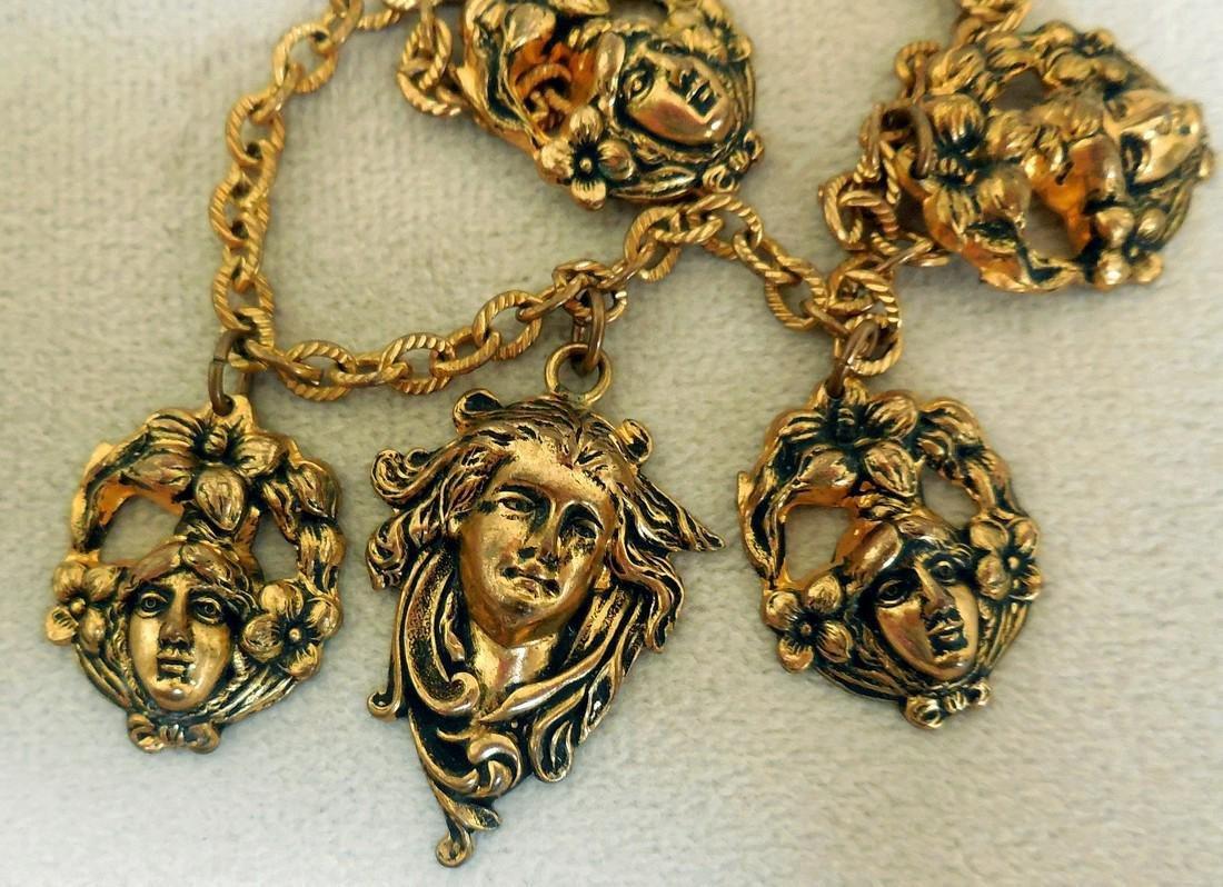 Antique Art Nouveau Gold Plated Charm Bracelet - 6