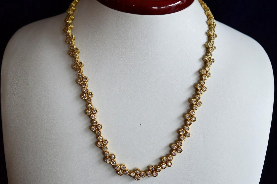 Gold Clad Sterling Silver CZ Necklace & Earrings - 2