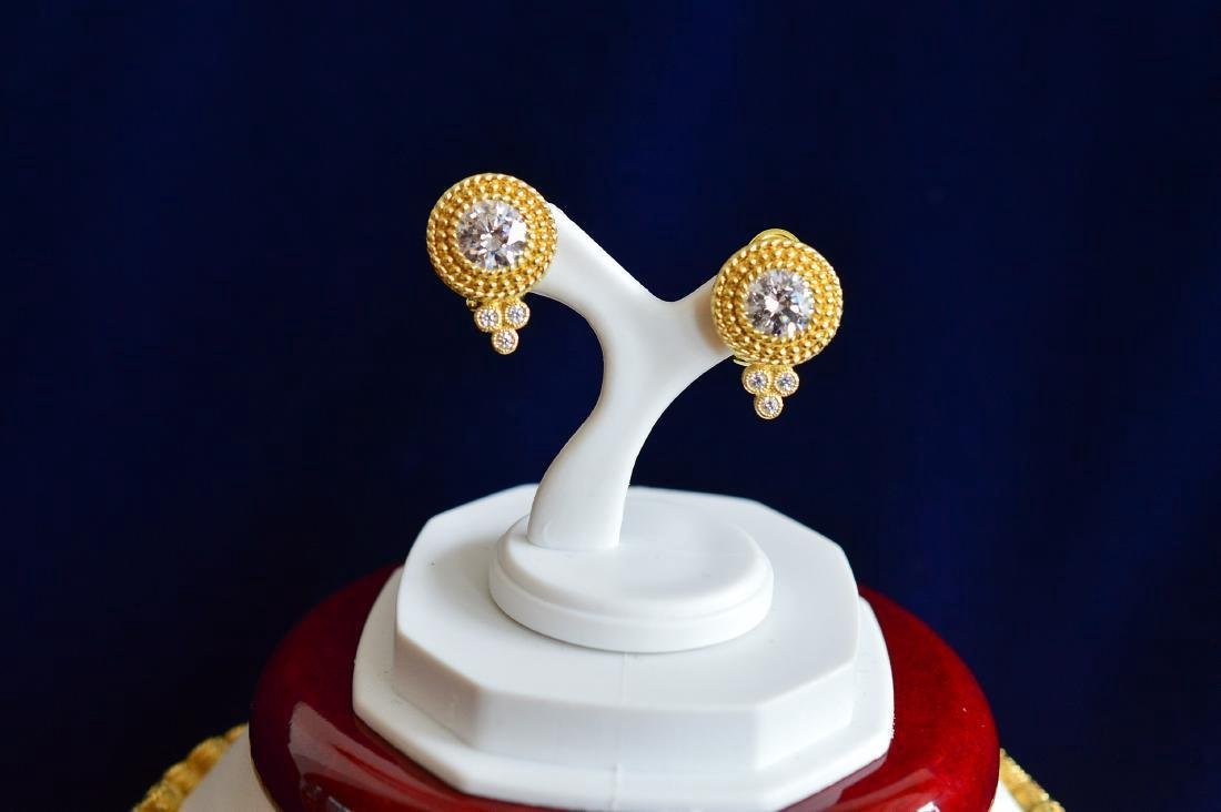 Gold Clad Sterling Silver CZ Necklace & Earrings - 3