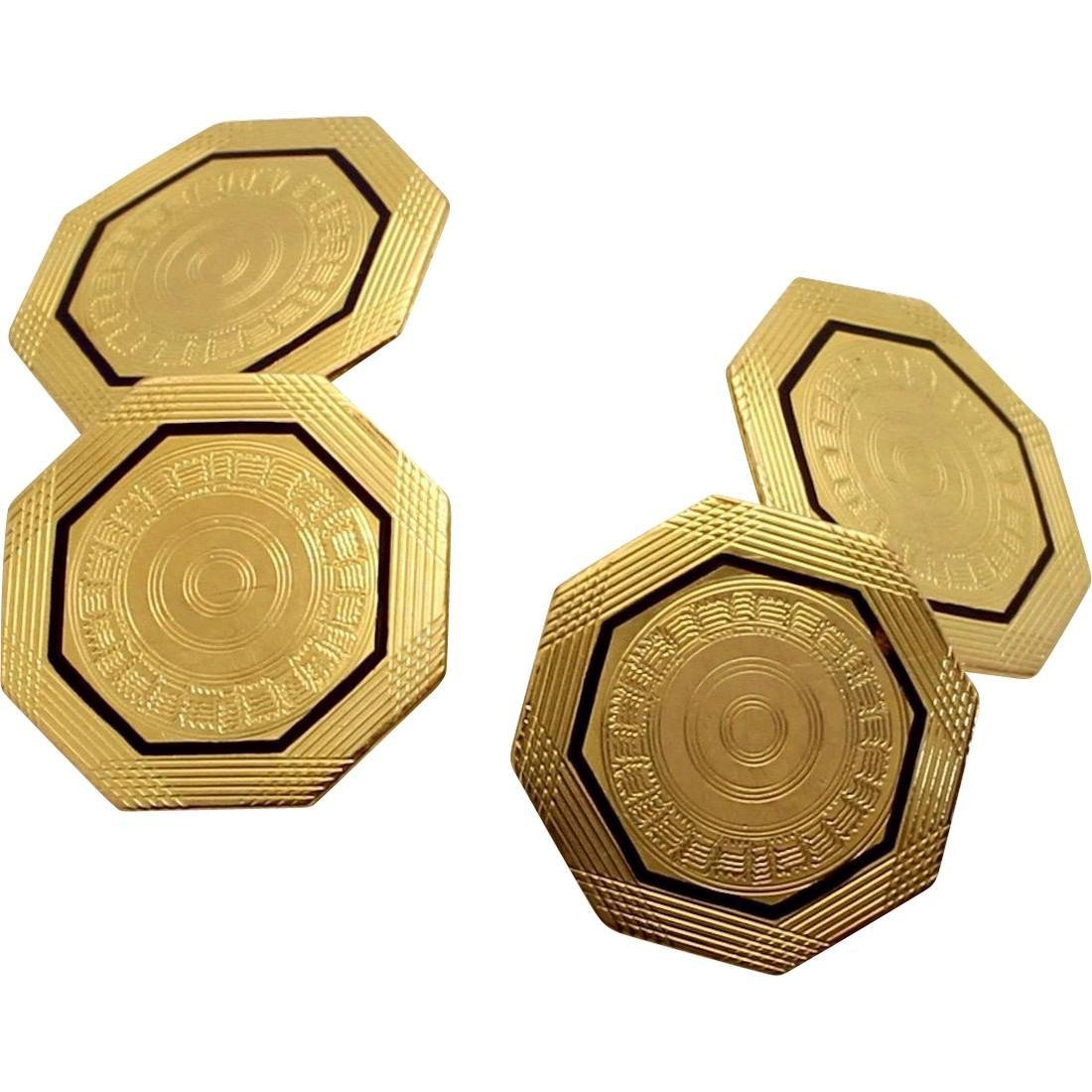Vintage Park Roger 10K Octagonal Gold Enamel Cufflinks