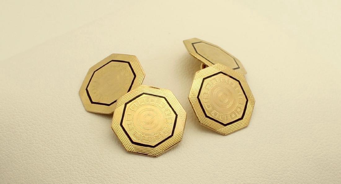Vintage Park Roger 10K Octagonal Gold Enamel Cufflinks - 2