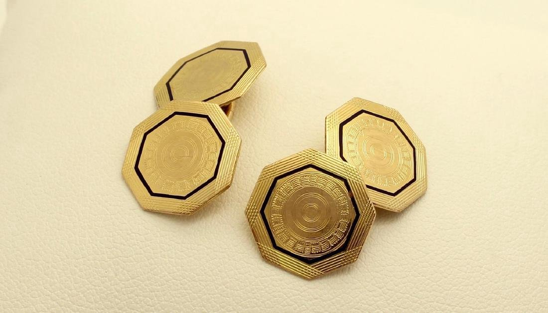 Vintage Park Roger 10K Octagonal Gold Enamel Cufflinks - 3