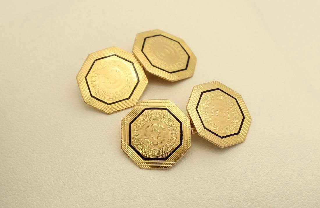 Vintage Park Roger 10K Octagonal Gold Enamel Cufflinks - 4