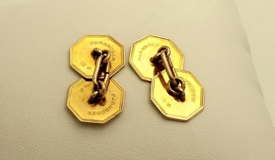 Vintage Park Roger 10K Octagonal Gold Enamel Cufflinks - 5