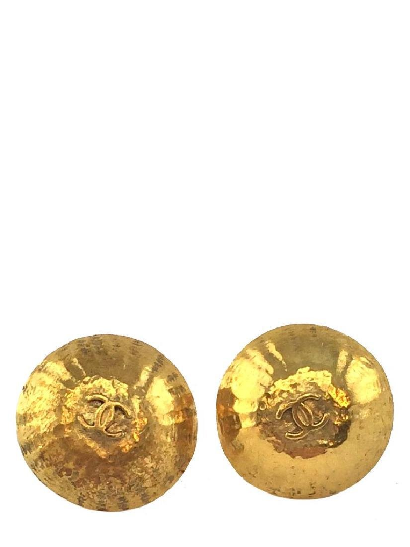 Vintage Chanel Gold CC Logo Dome Clip-On Earrings