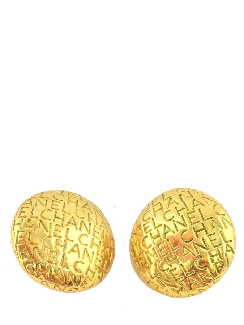 Vintage Chanel Gold Logo Engraved Clip-On Earrings