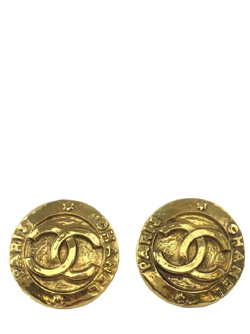 Vintage Chanel Gold CC Disc Clip-On Earrings
