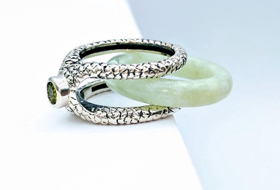 Sterling Silver Two-Way Jade Peridot Ring, .25ctw
