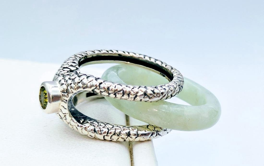 Sterling Silver Two-Way Jade Peridot Ring, .25ctw - 2