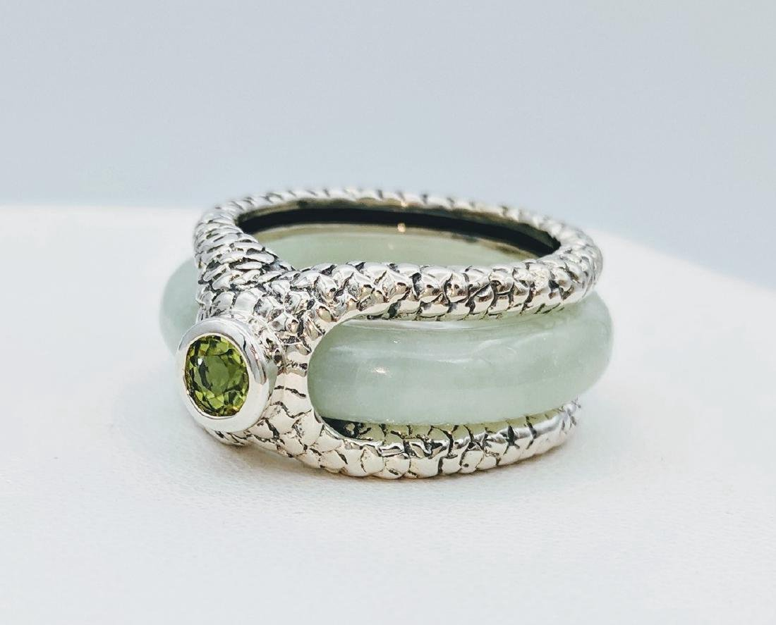 Sterling Silver Two-Way Jade Peridot Ring, .25ctw - 3