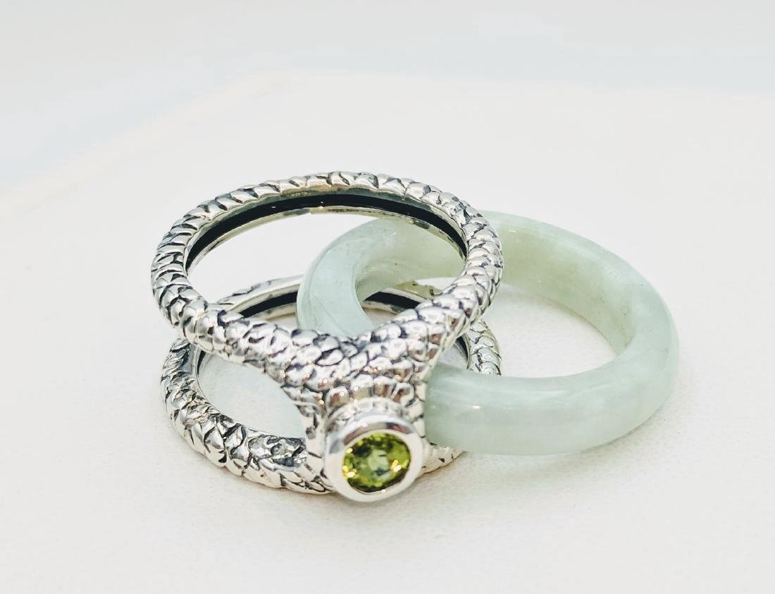 Sterling Silver Two-Way Jade Peridot Ring, .25ctw - 4