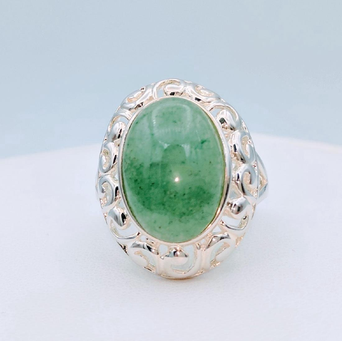 Sterling Silver Victorian Style Jade Ring