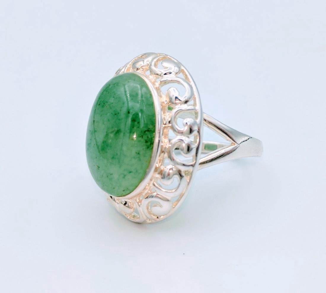 Sterling Silver Victorian Style Jade Ring - 2