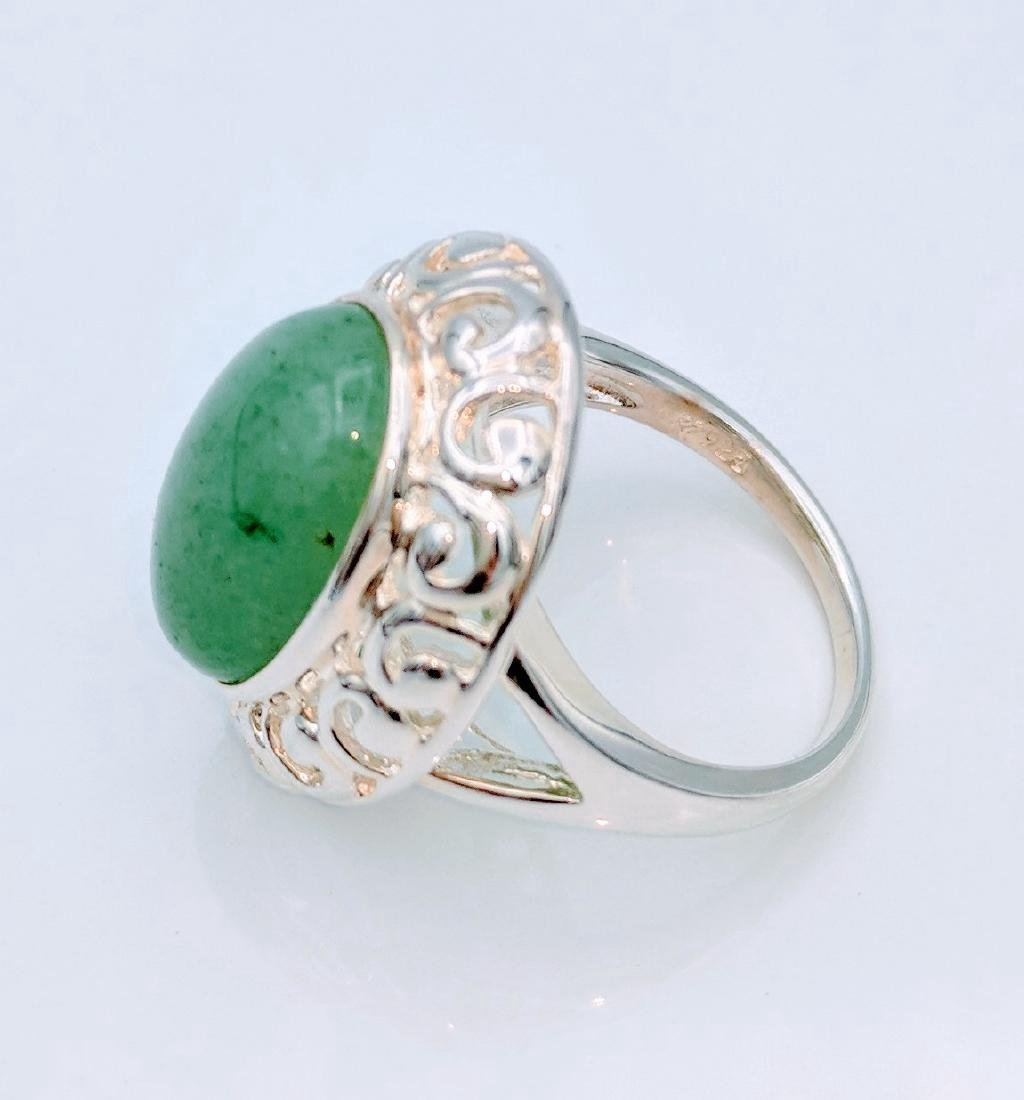 Sterling Silver Victorian Style Jade Ring - 3