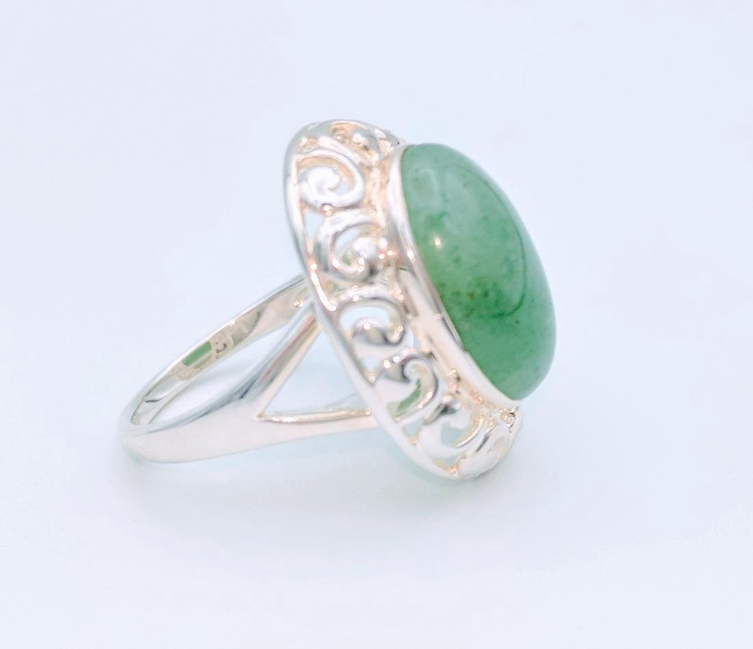 Sterling Silver Victorian Style Jade Ring - 4