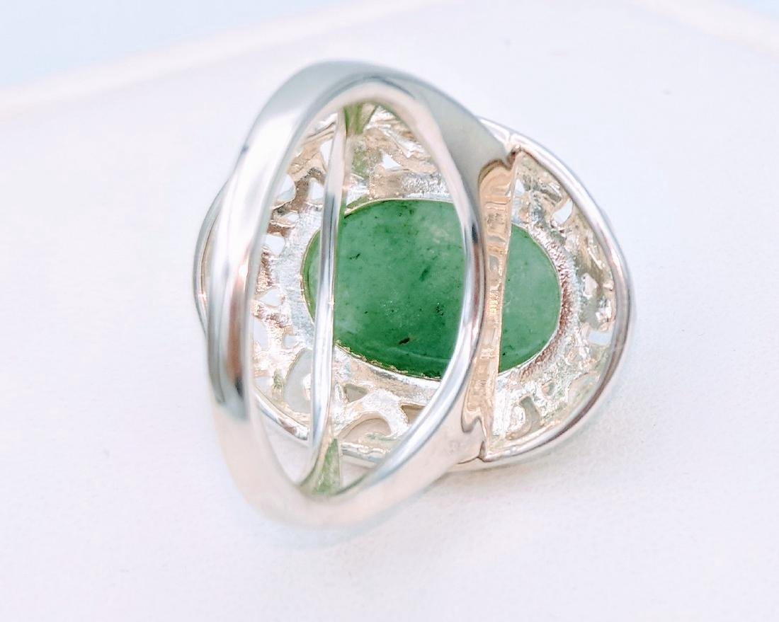 Sterling Silver Victorian Style Jade Ring - 5