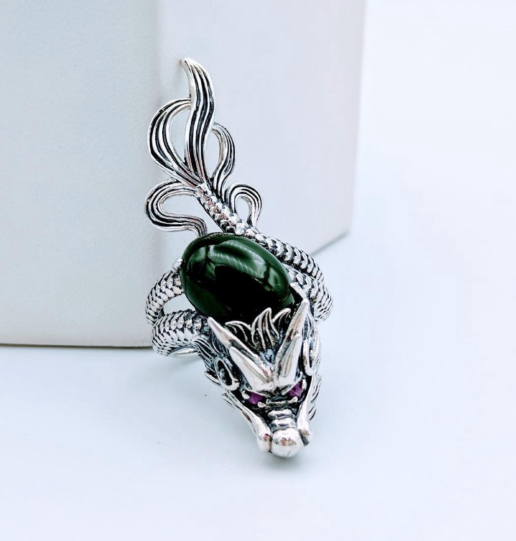 Sterling Silver Jadeite Pink Sapphire Dragon Ring - 2