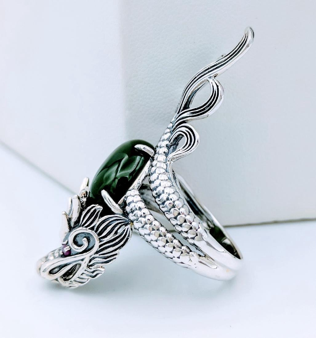 Sterling Silver Jadeite Pink Sapphire Dragon Ring - 3