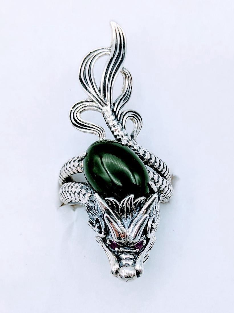 Sterling Silver Jadeite Pink Sapphire Dragon Ring - 7