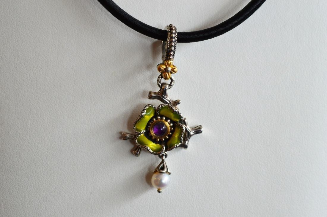 18k Gold Clad Pearl Amethyst Enamel Flower Pendant