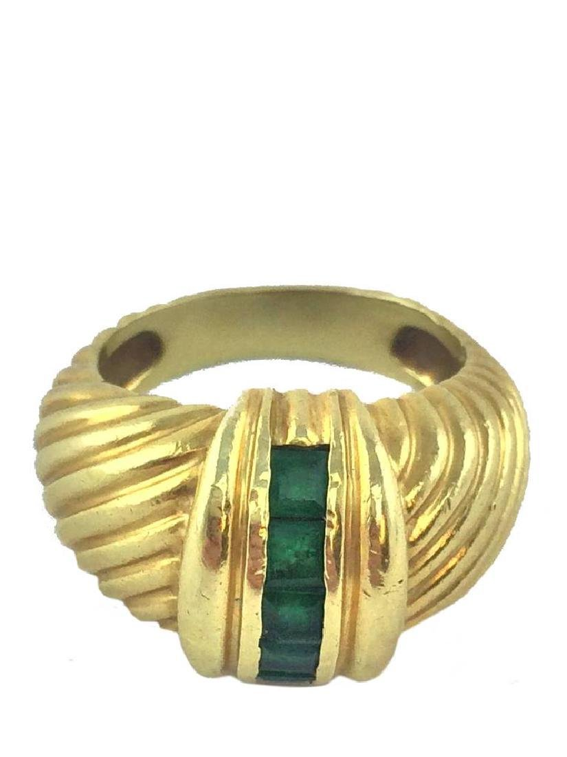 Vintage David Yurman 14k Gold Emerald Cable Ring