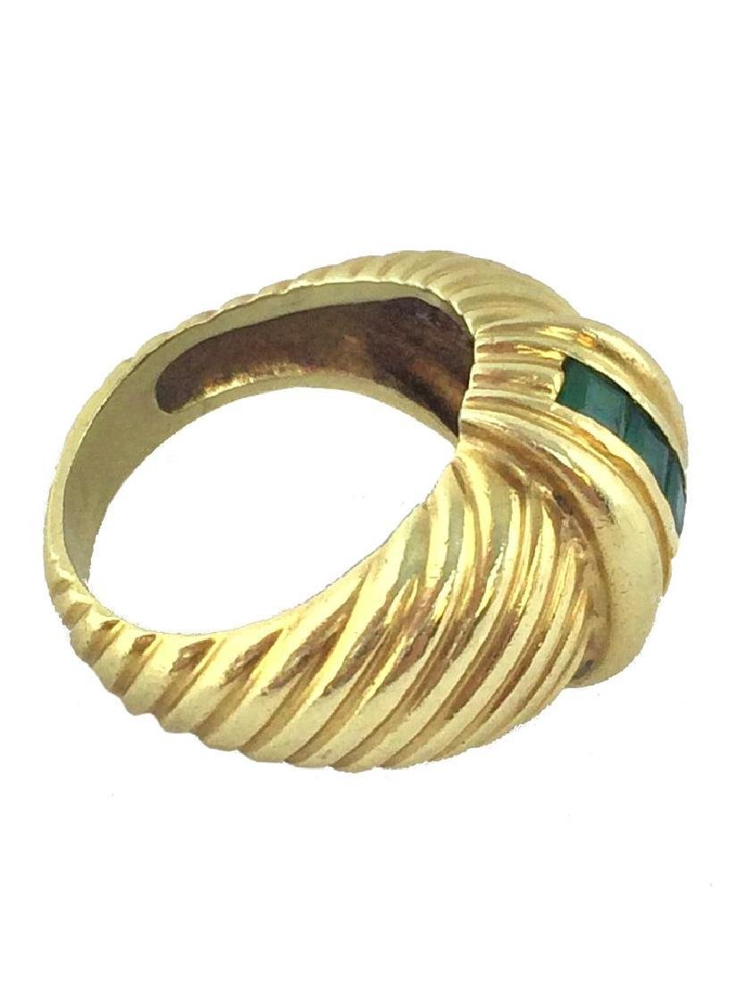 Vintage David Yurman 14k Gold Emerald Cable Ring - 2