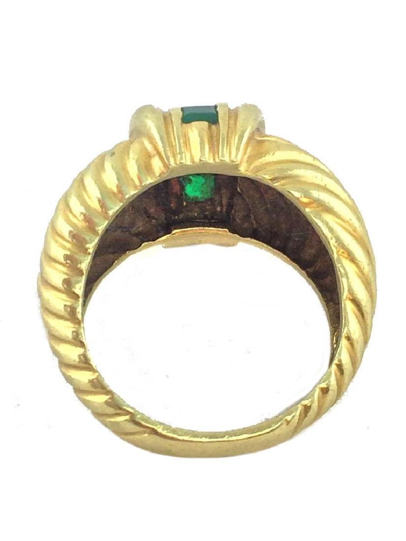 Vintage David Yurman 14k Gold Emerald Cable Ring - 3