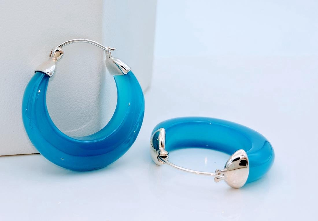 Sterling Silver Blue Glass Filled Opaque Earrings - 2