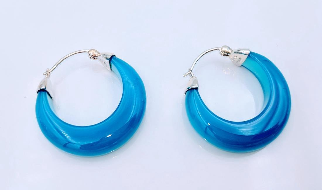 Sterling Silver Blue Glass Filled Opaque Earrings - 3