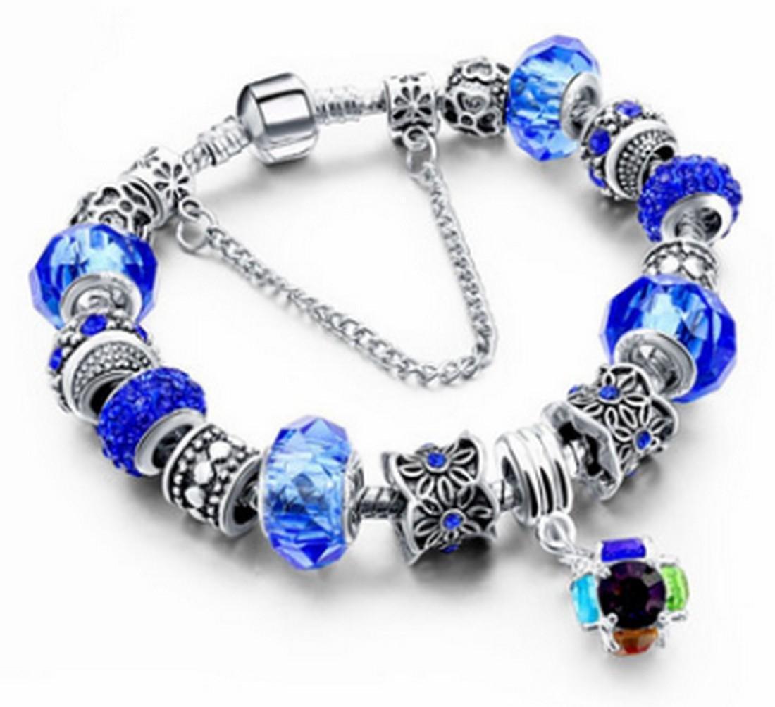 Silver Plated Pandora Style Blue Murano Charm Bracelet