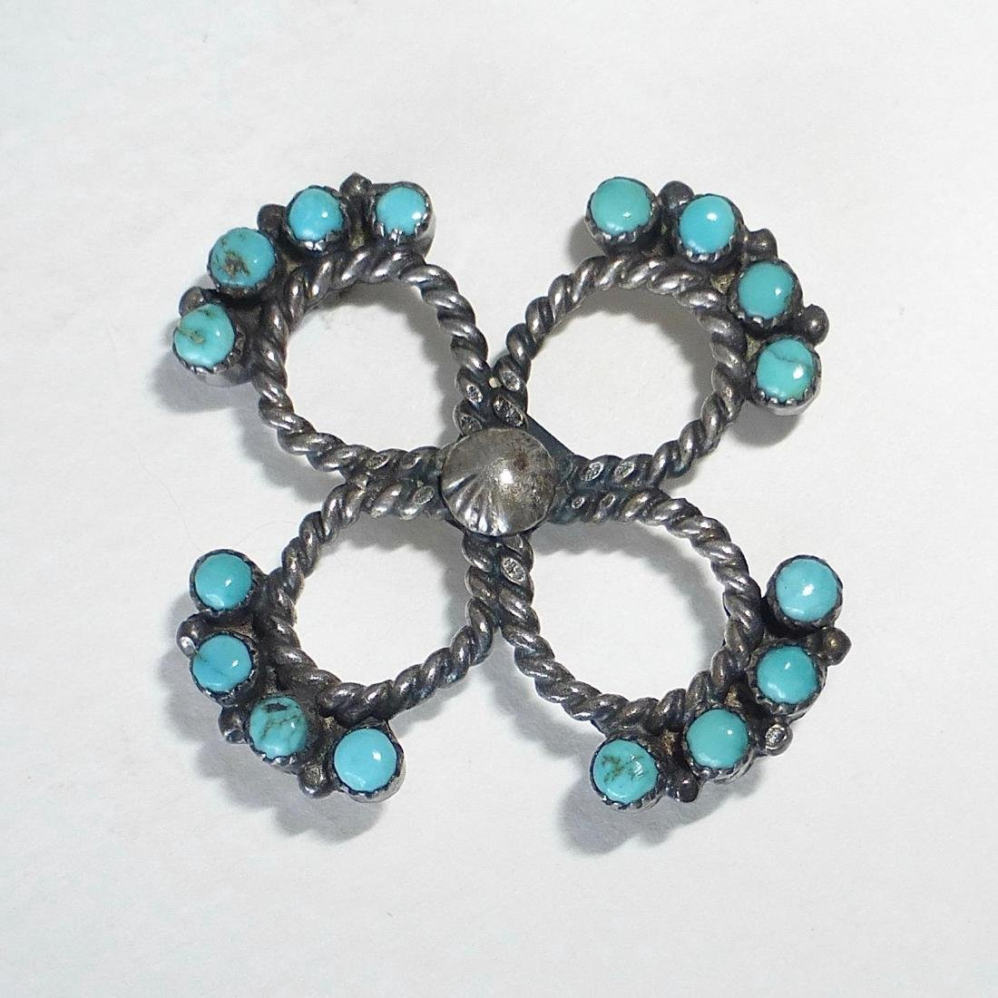 Native American Sterling Silver Turquoise Pin - 3