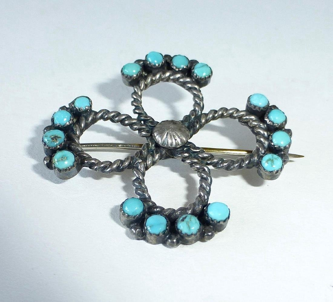 Native American Sterling Silver Turquoise Pin - 4