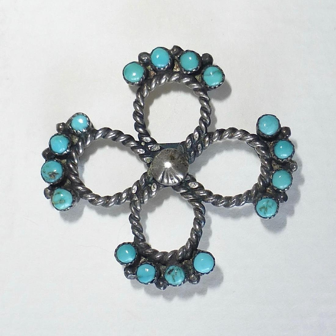 Native American Sterling Silver Turquoise Pin - 7