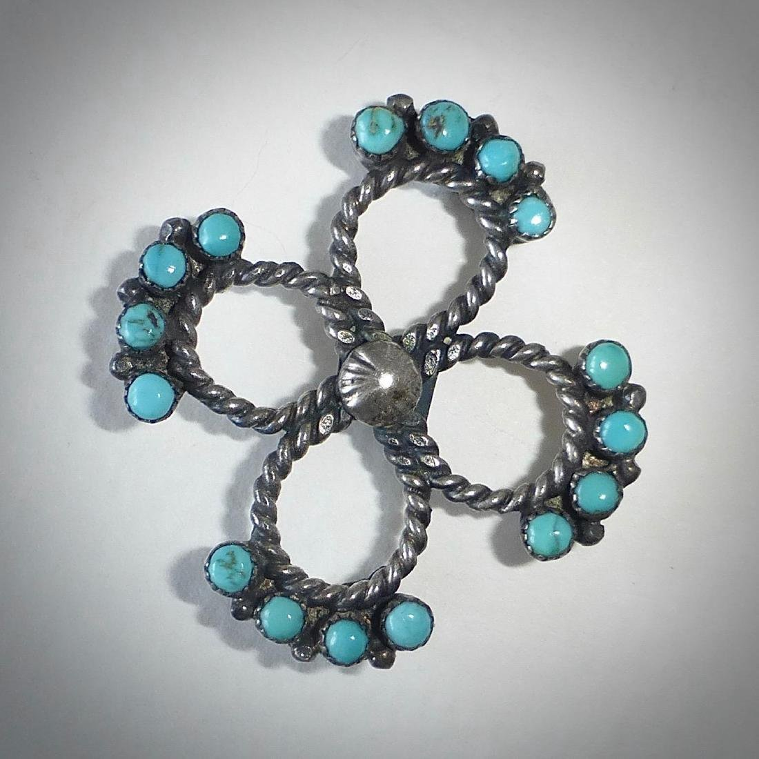 Native American Sterling Silver Turquoise Pin - 8