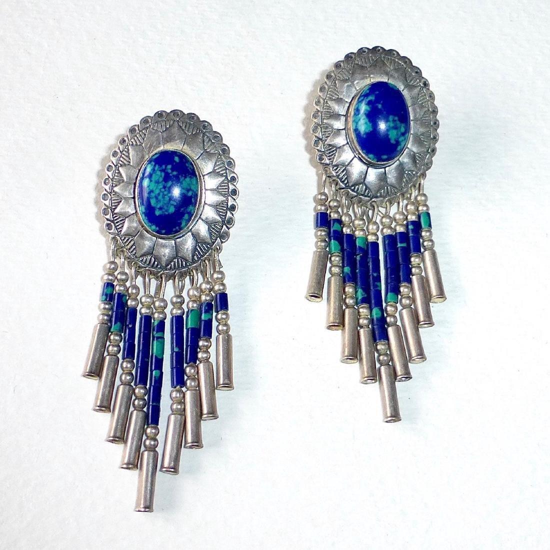 Native American Sterling Azure-Malachite Drop Earrings - 2