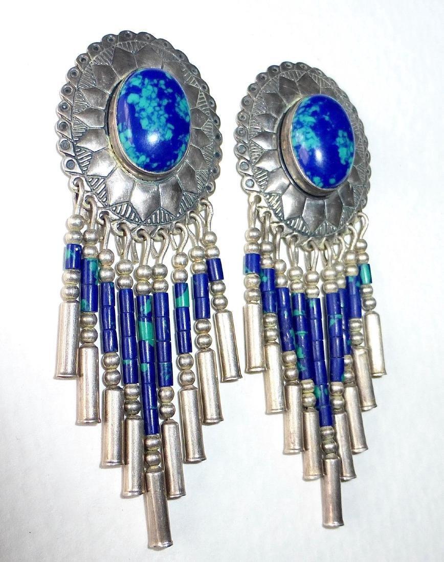 Native American Sterling Azure-Malachite Drop Earrings - 3