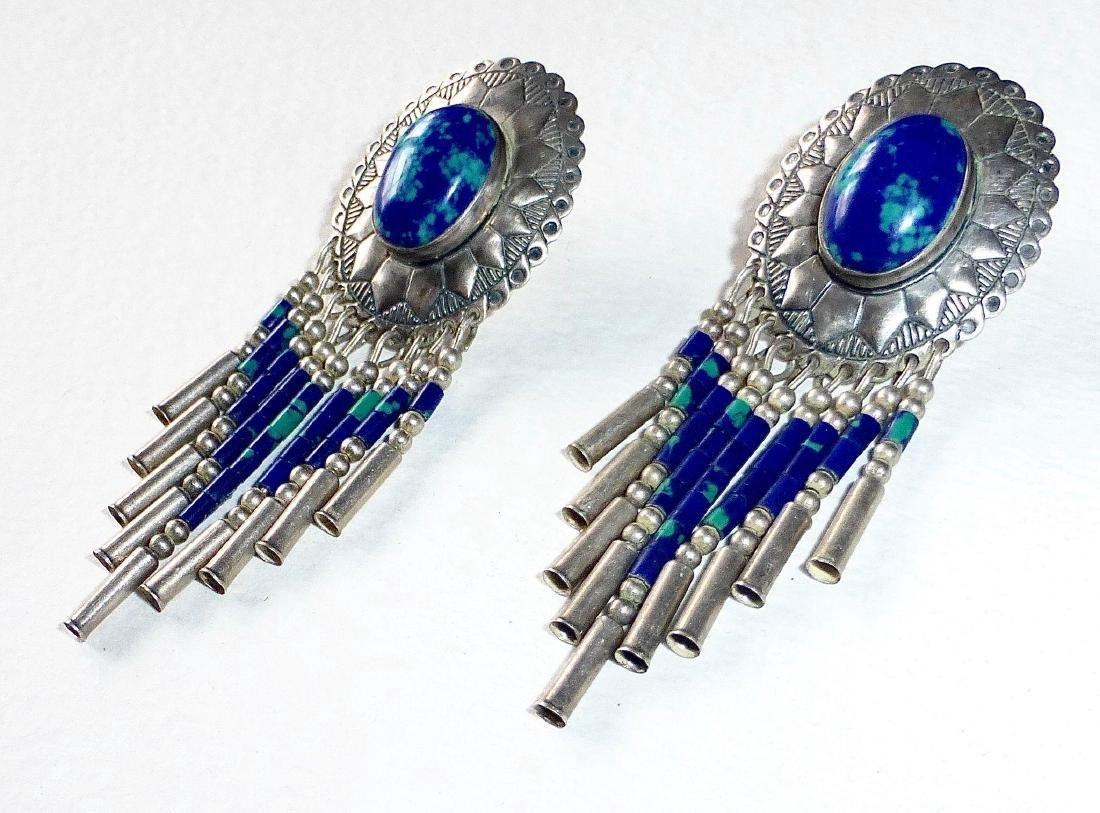Native American Sterling Azure-Malachite Drop Earrings - 4