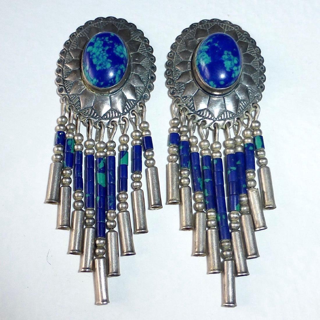 Native American Sterling Azure-Malachite Drop Earrings - 5