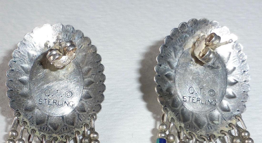 Native American Sterling Azure-Malachite Drop Earrings - 7