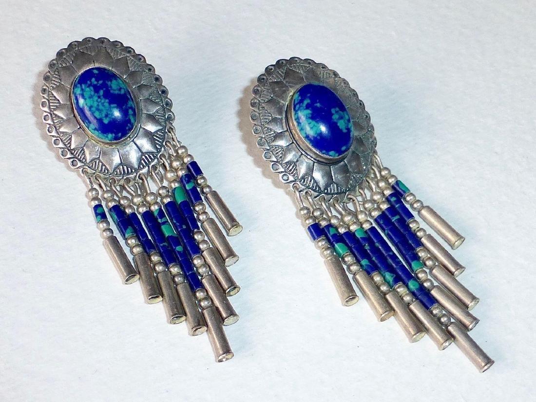 Native American Sterling Azure-Malachite Drop Earrings - 8