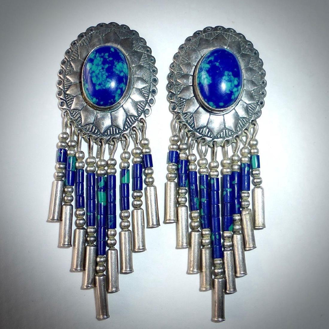 Native American Sterling Azure-Malachite Drop Earrings - 9
