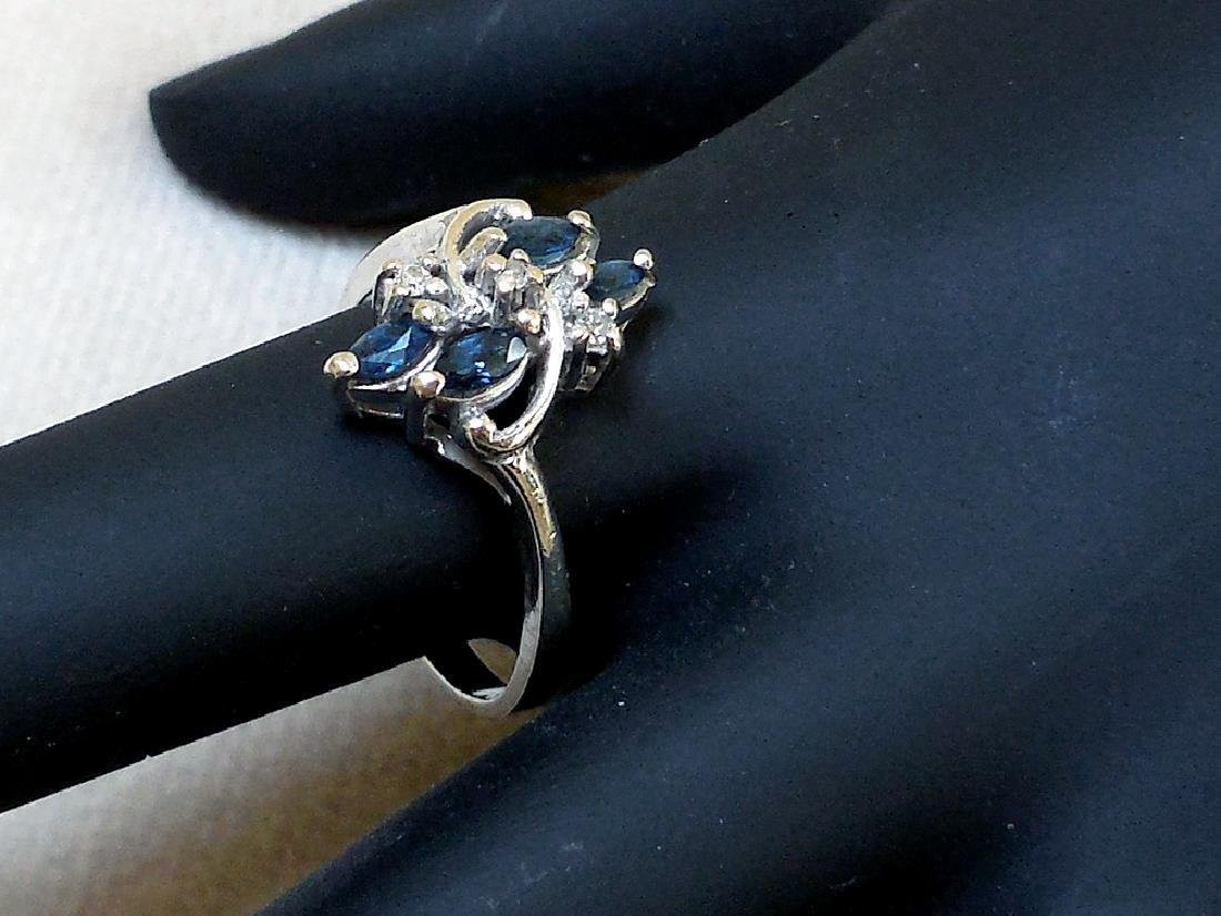 Vintage 14K Gold Sapphire Diamond Ring - 10