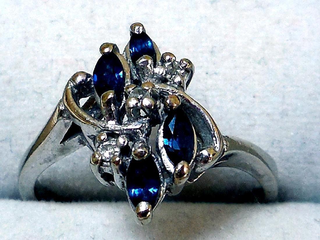 Vintage 14K Gold Sapphire Diamond Ring