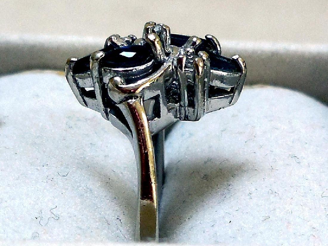 Vintage 14K Gold Sapphire Diamond Ring - 2